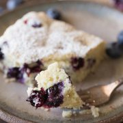 A lovely little snack cake that is slightly sweet with a tender crumb and lots of juicy blueberries!