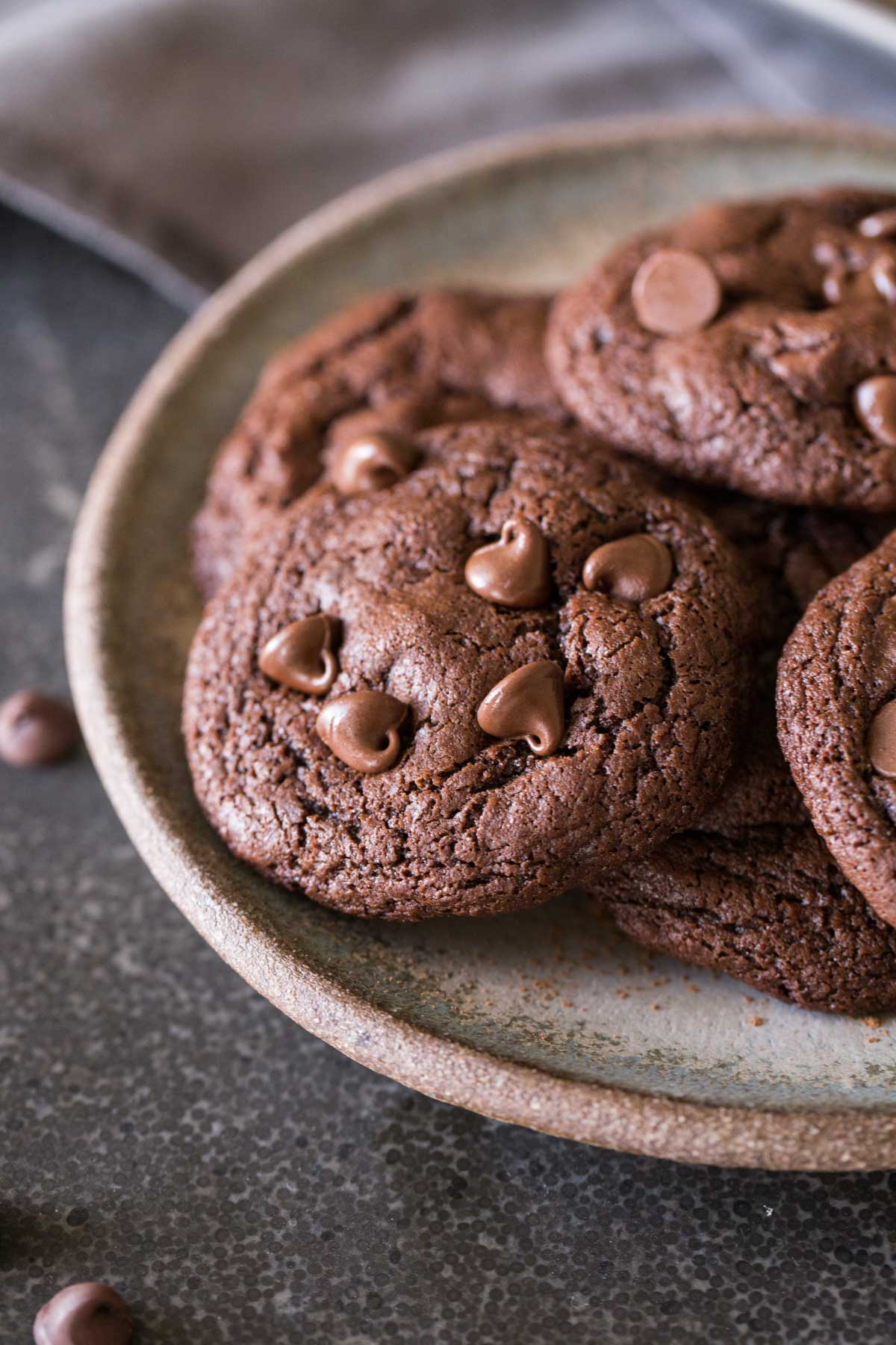 A plate of One Bowl Triple Chocolate Brownie Cookies.