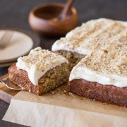My very favorite banana bread recipe baked into a sweet, moist cake with the best and fluffiest cream cheese frosting!