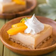 An easy, refreshing peach ice cream dessert made with fresh peaches and a graham cracker crust!