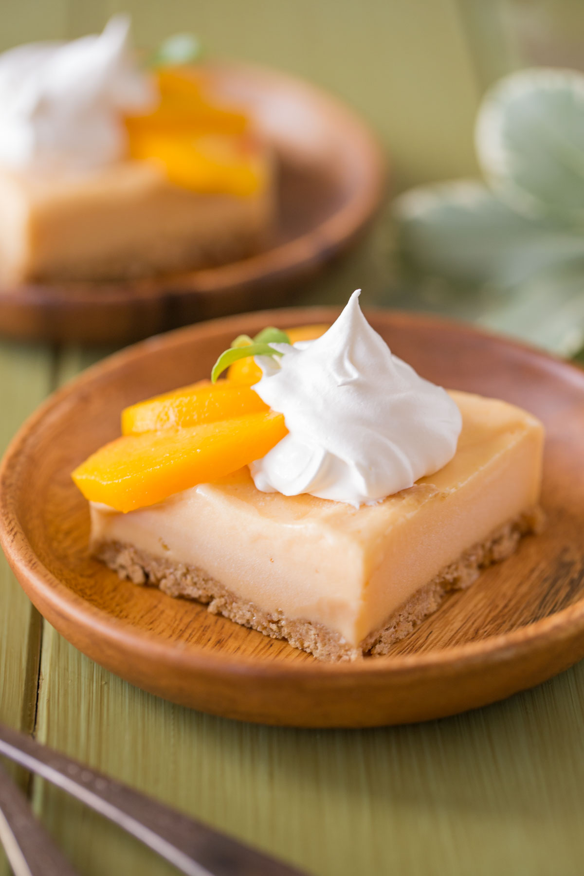 An Easy Homemade Peach Ice Cream Bar on a wood plate, topped with whipped cream and fresh peach slices.