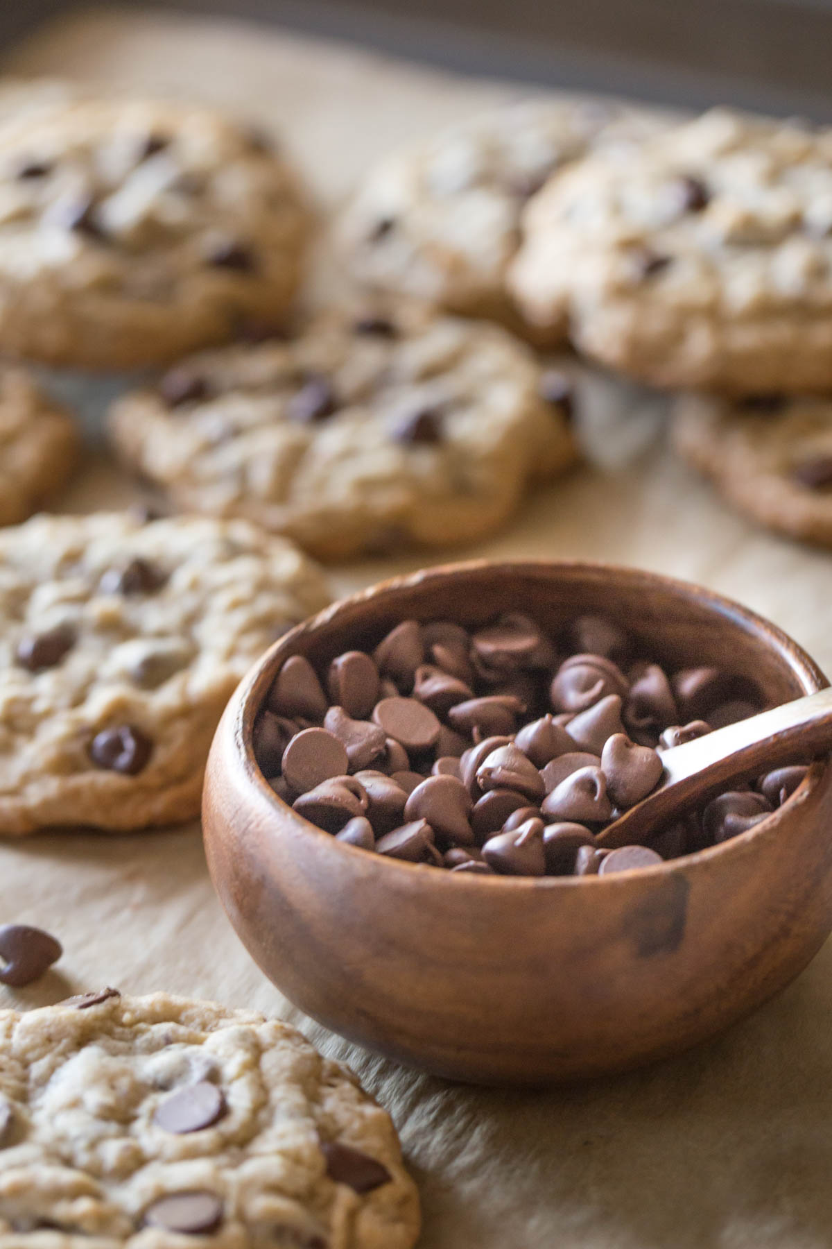 Bakery Style Oatmeal Chocolate Chip Cookies on a parchment paper lined baking sheet, along with a small wood bowl of chocolate chips.