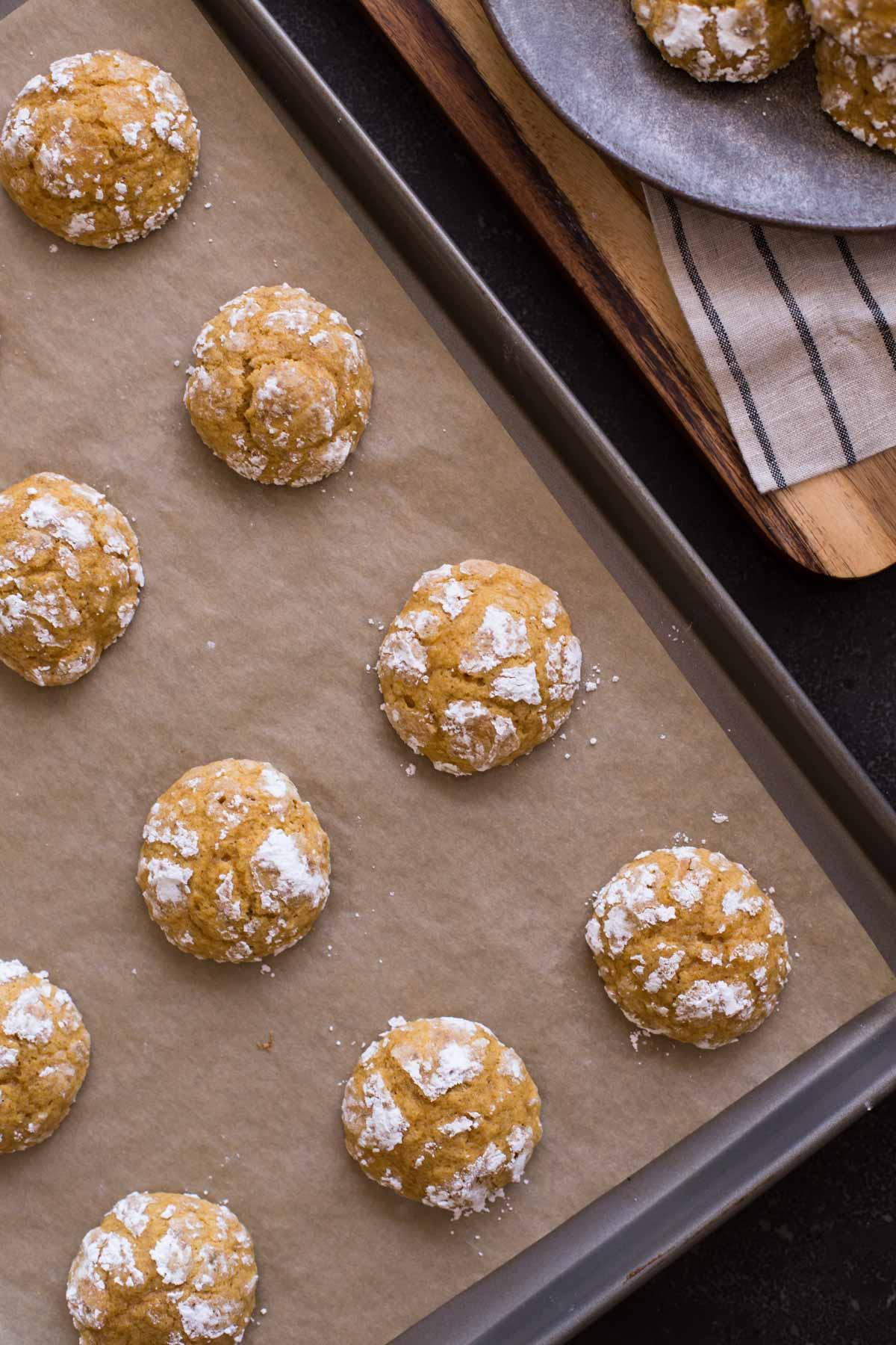 Soft Pumpkin Cookies on a baking sheet.