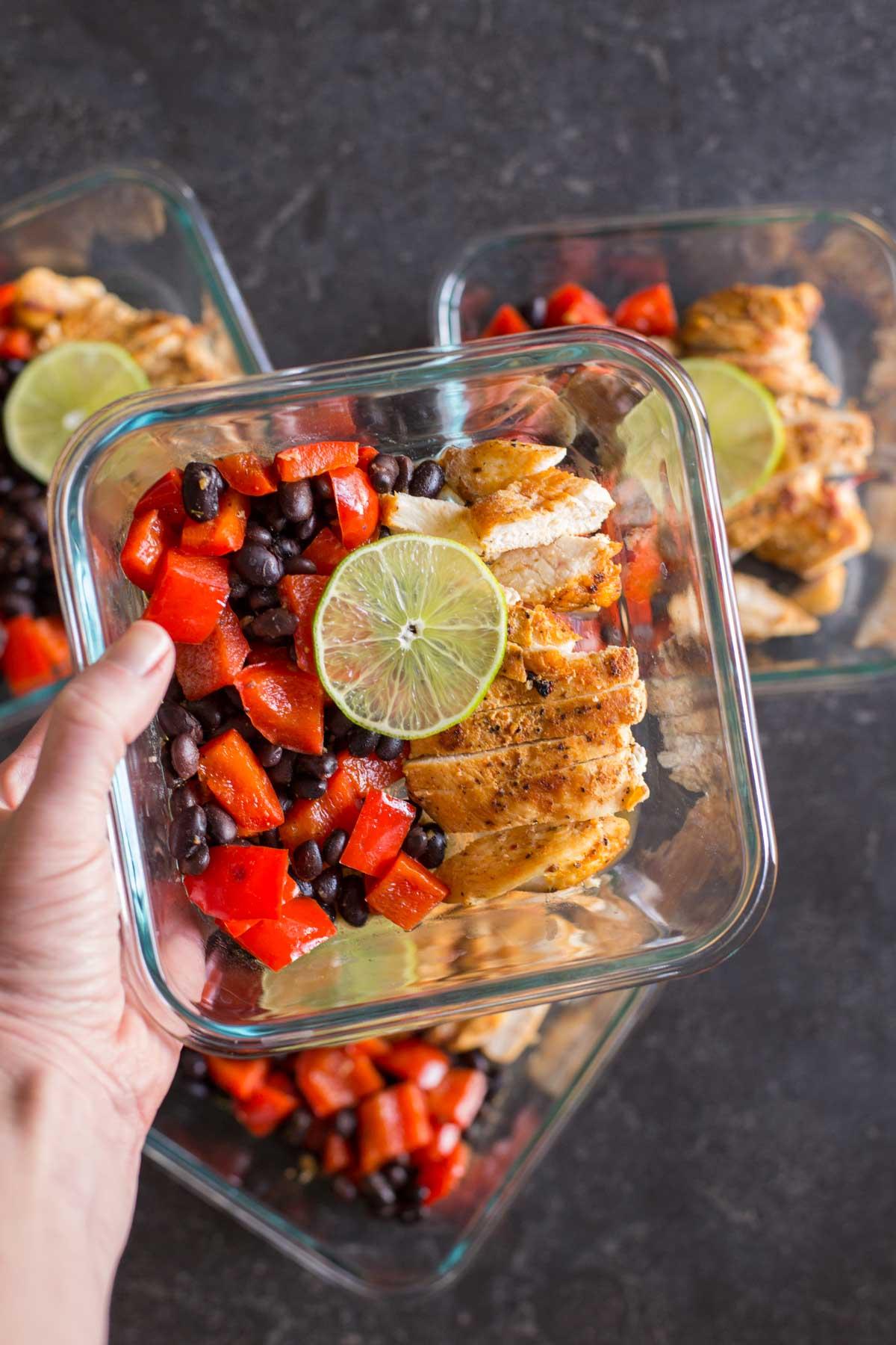 Four Healthy Southwestern Chicken Bowls.