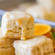 With that sticky sweet orange icing, and almost petit four shape, these Mini Orange Cream Scones really are divine!