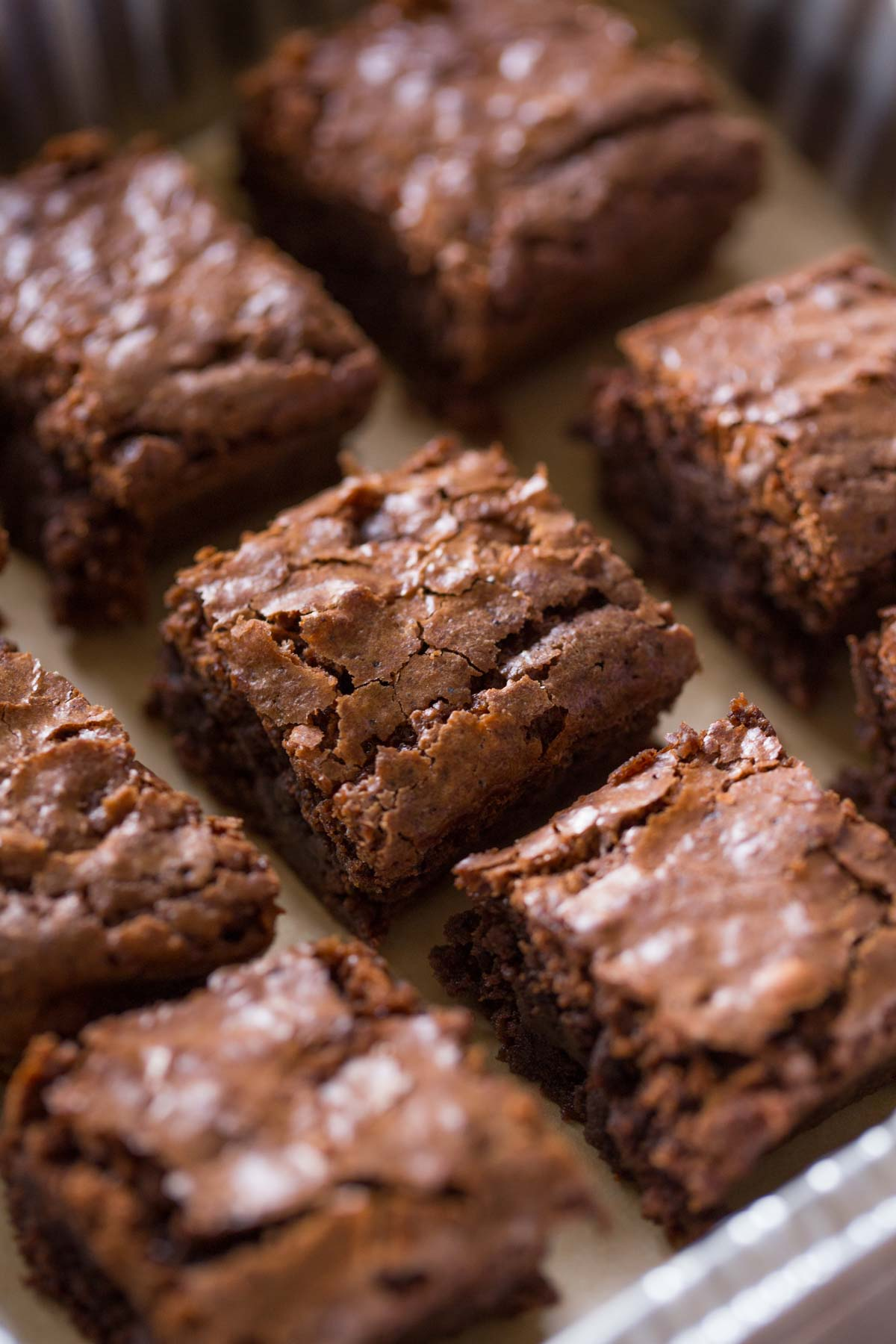 A pan of Extra Thick and Fudgy Homemade Brownies cut into squares.