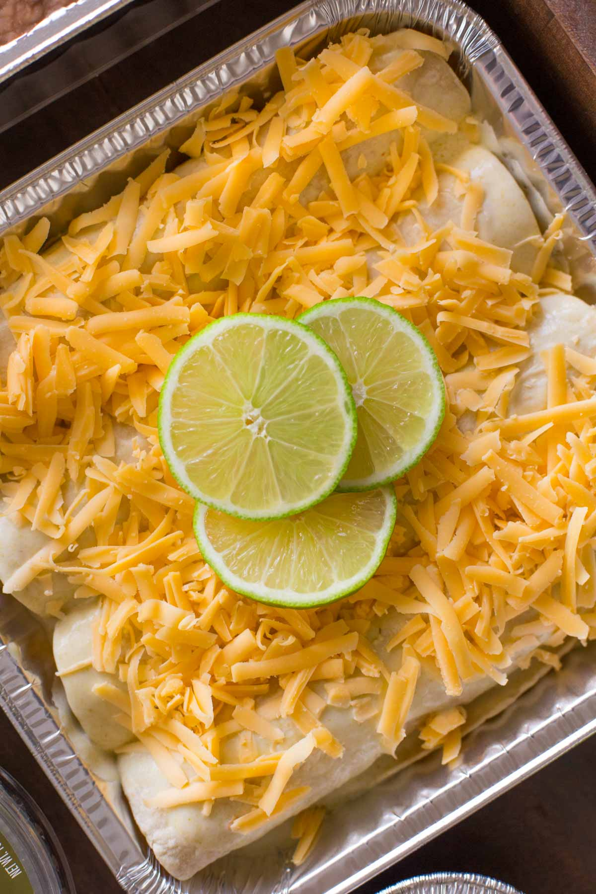 A pan of Honey Lime Chicken Enchiladas before being cooked.