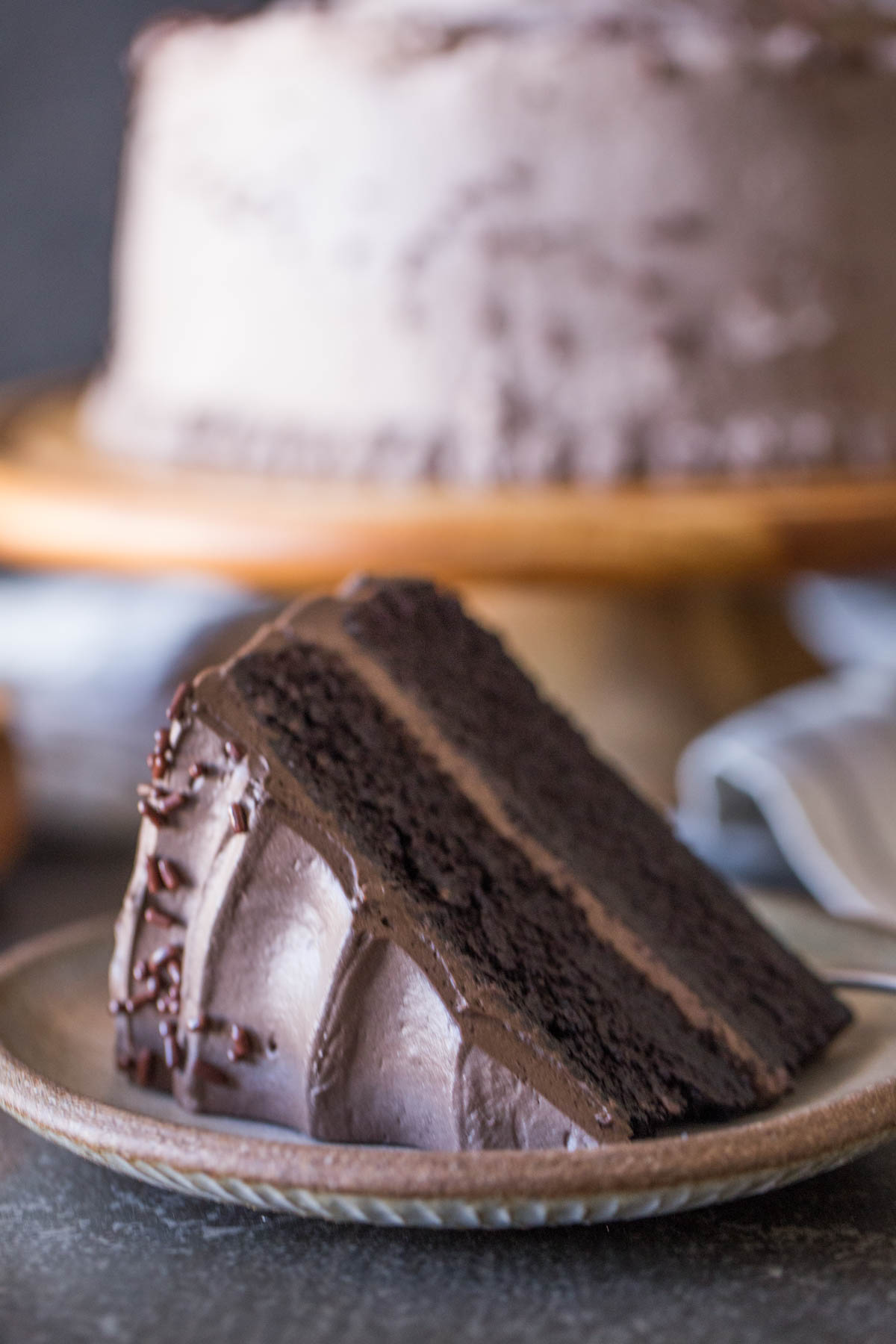 A slice of Dark Chocolate Cake With Whipped Cream Frosting on a plate, with the rest of the cake on a cake stand in the background.