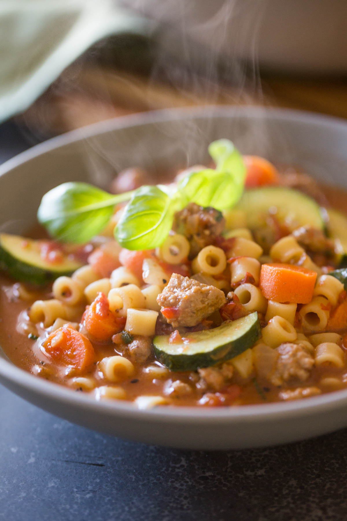 Turkey and Vegetable Ditalini Soup in a bowl.