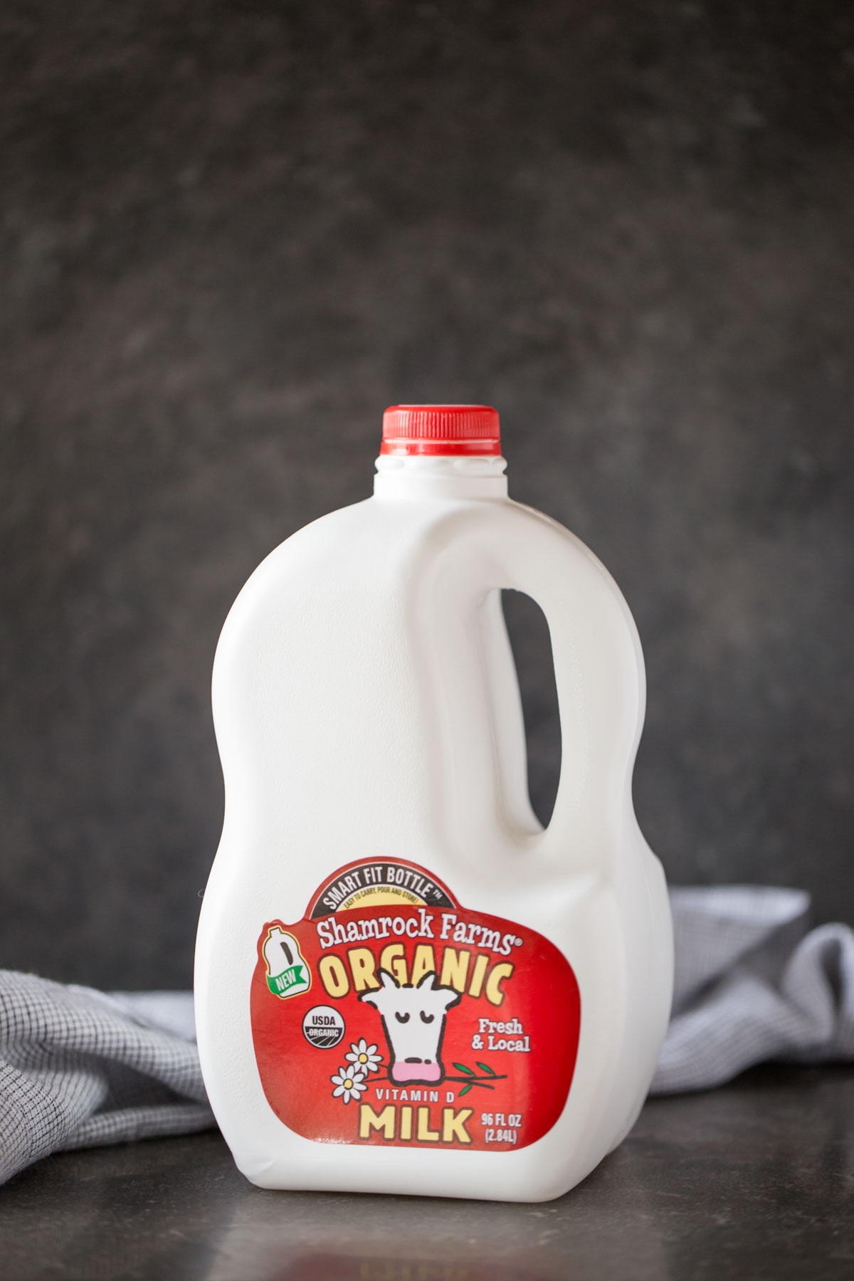 A Shamrock Farms Organic Milk jug for the Chia Pudding Parfaits.