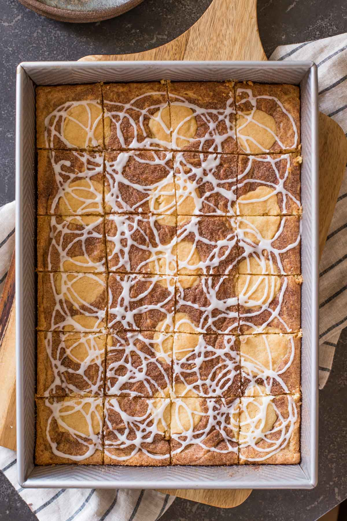 Snickerdoodle Bars in a baking dish.