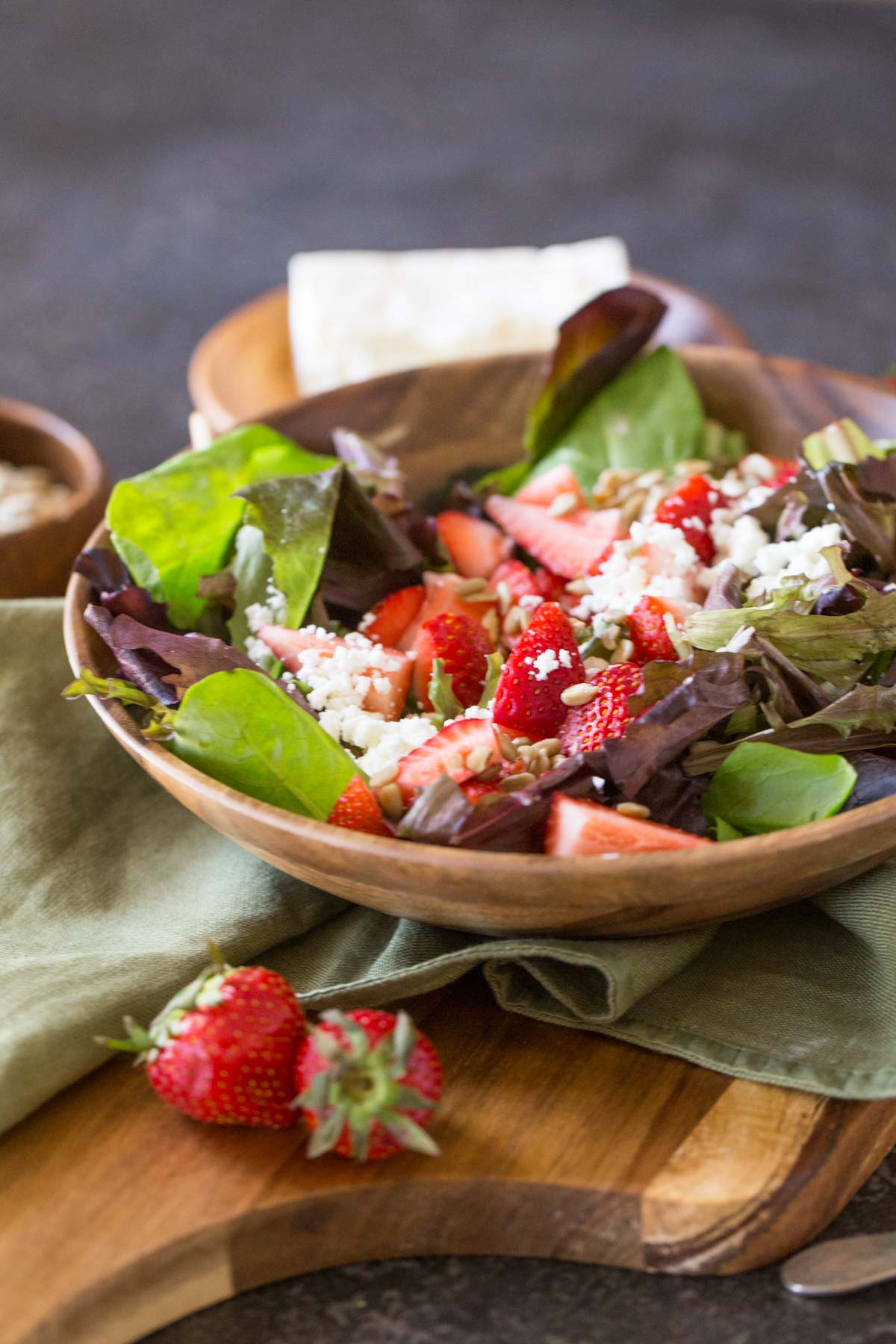 A bowl of Easy Strawberry Balsamic Salad.