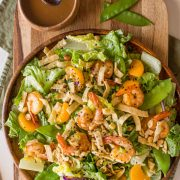 That Spicy Peanut Dressing is everything, and I love the addition of snow peas, peanuts, mandarin oranges, and crispy wonton strips.