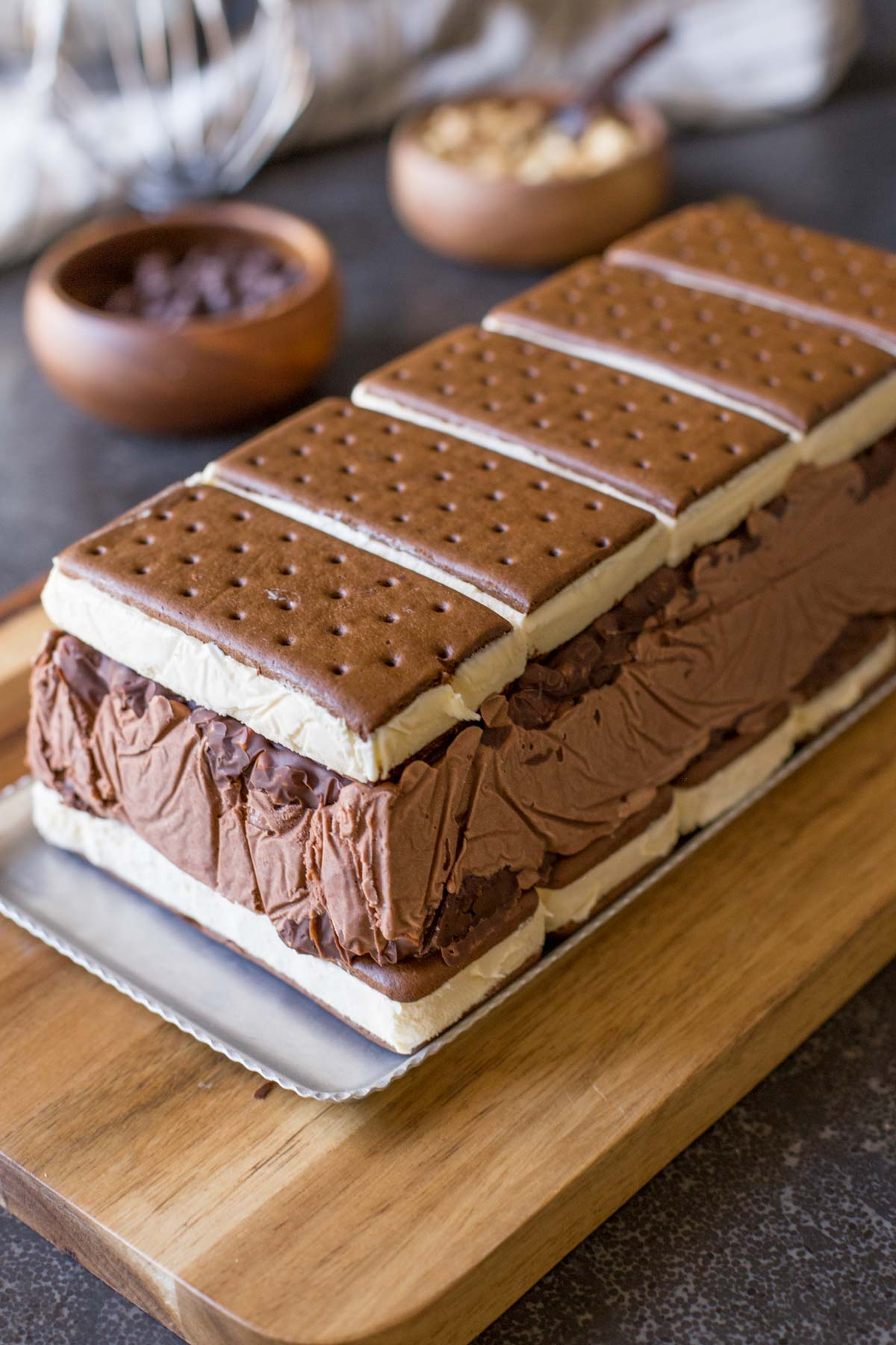 Chocolate Peanut Butter Ice Cream Slice Cake before the whipped cream layer is put on.