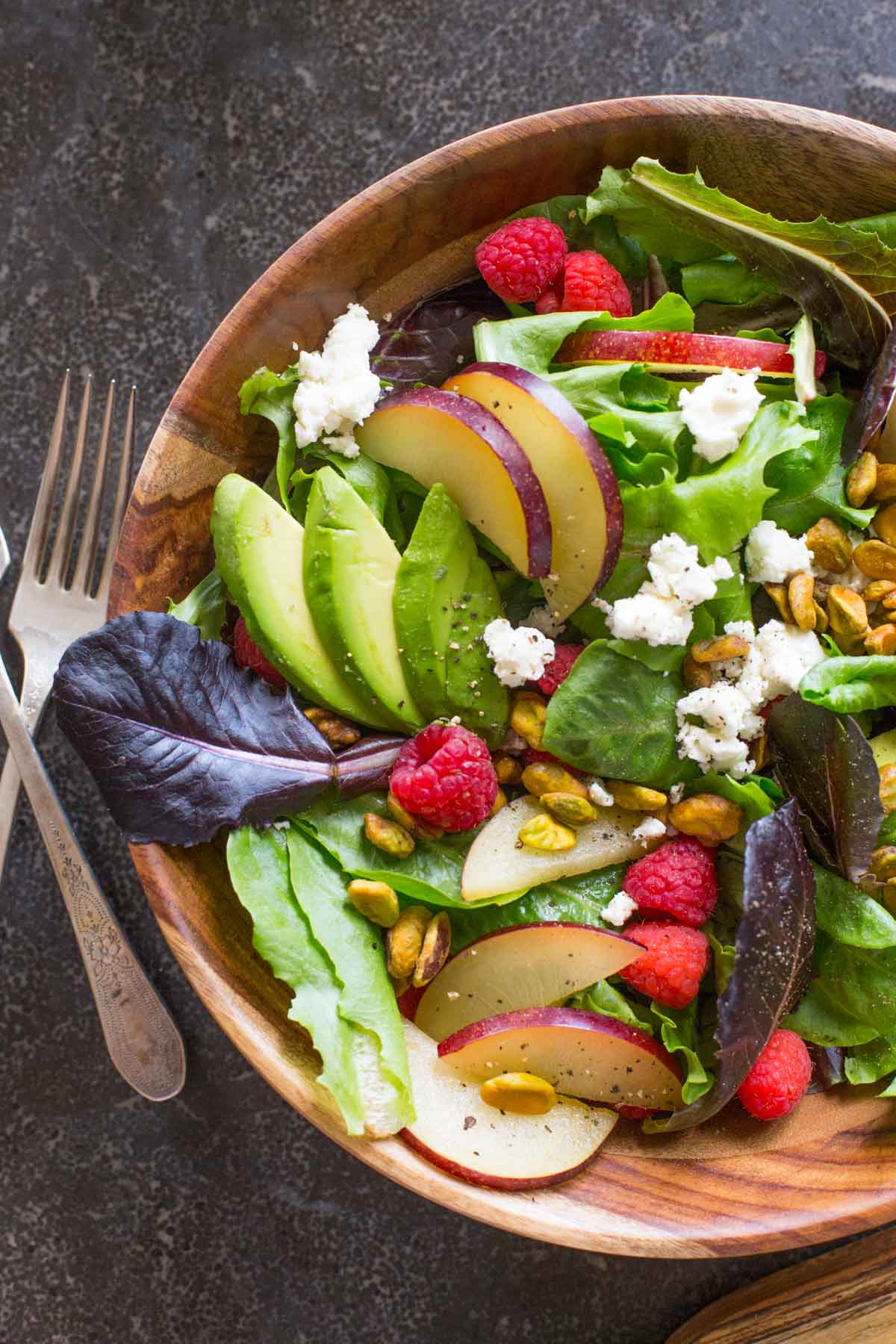 I just love my Summer Fruited Salad with Goat Cheese and Pistachio - we've got tangy, crunchy, salty, sweet, juicy, and creamy all in one fabulous bite!