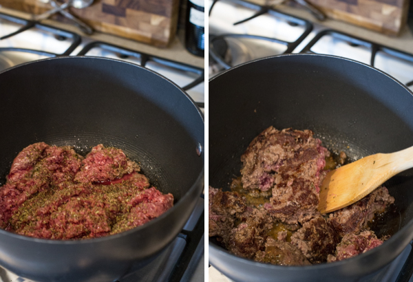 Two pictures of the ground beef in a pan being browned for the Simple Homemade Lasagna.