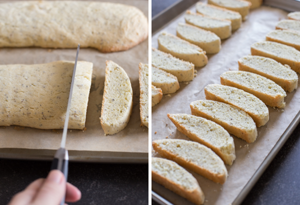 Two pictures - the first showing the Almond Poppy Seed Biscotti logs being cut into slices and the second picture showing the Almond Poppy Seed Biscotti slices arranged on a parchment paper lined baking sheet.