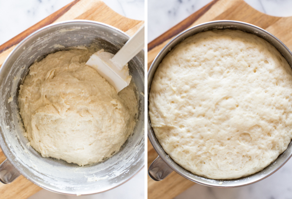 Two step by step photos for the Sheet Pan Cinnamon Rolls - the first showing the dough in the mixing bow, and the second showing the dough after letting it rise.