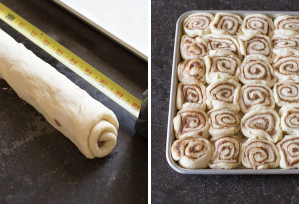 Two step by step photos for the Sheet Pan Cinnamon Rolls - the first showing the rolled up dough with a tape measure next to it, and the second showing all the cut sections of dough arranged in the sheet pan.
