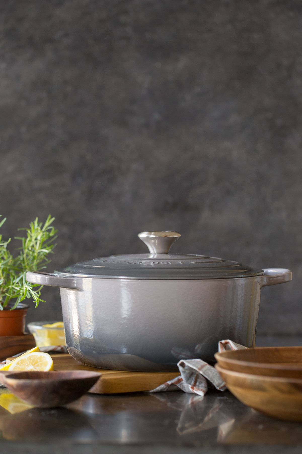 A Le Creuset Dutch oven with the lid on.
