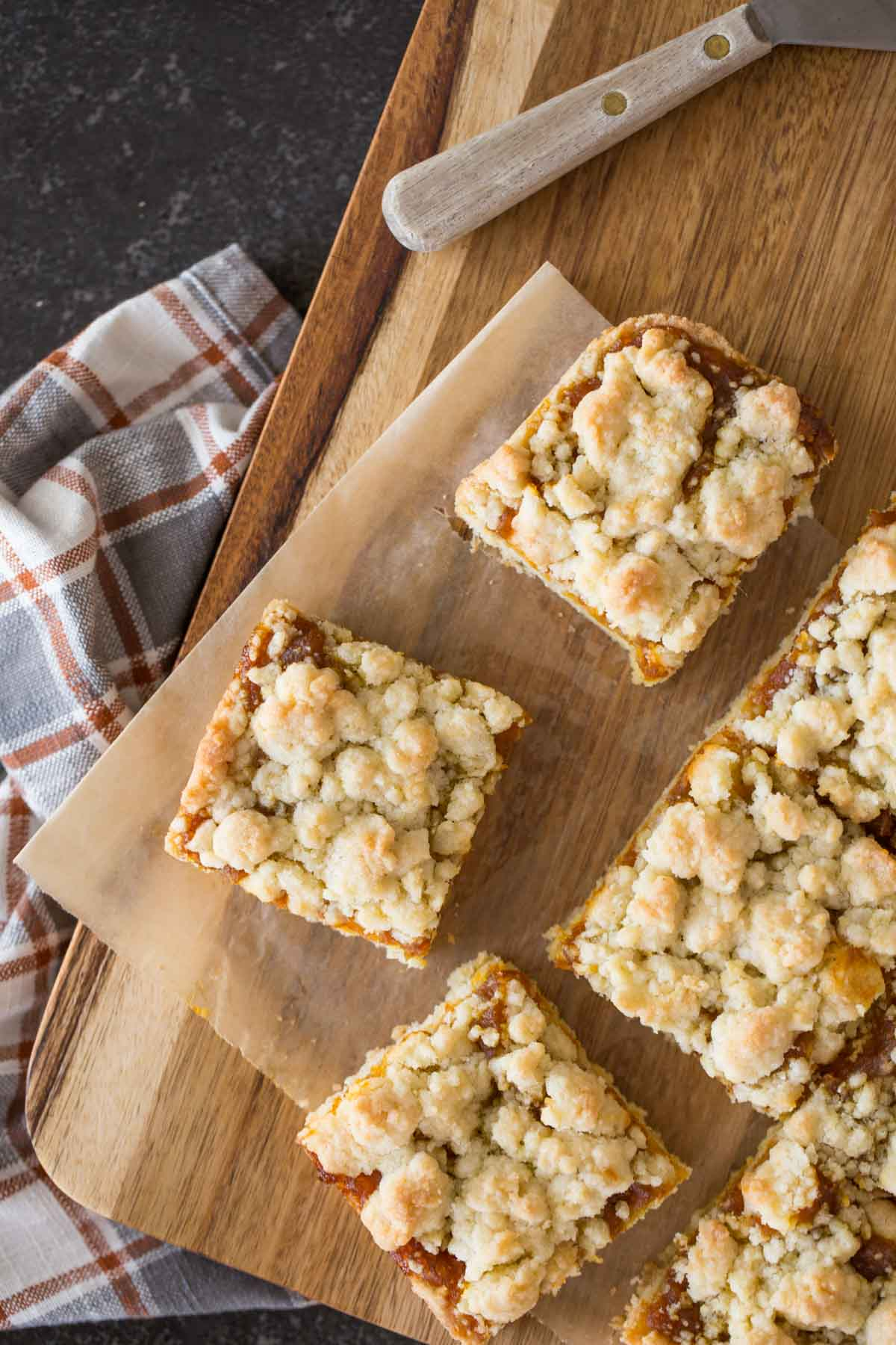 Pumpkin Butter Crumb Bars on a cutting board.