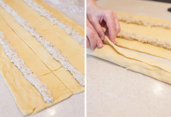Two step by step pictures for the Buttery Almond Bear Claws - the first showing the almond paste filling in the middle of each rectangle, and the second showing the sides of the dough being folded over the filling.