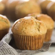 These Healthier Zucchini Muffins are just right with lots of grated zucchini, a little bit of spice, and just a touch of sweetness.