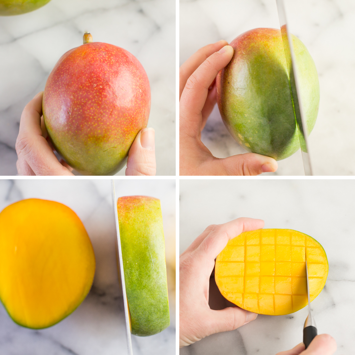 Step by step pictures for how to cut and dice a fresh mango on a white marble background.