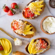 Top down view of Strawberry Mango Cinnamon Toast and ingredients.