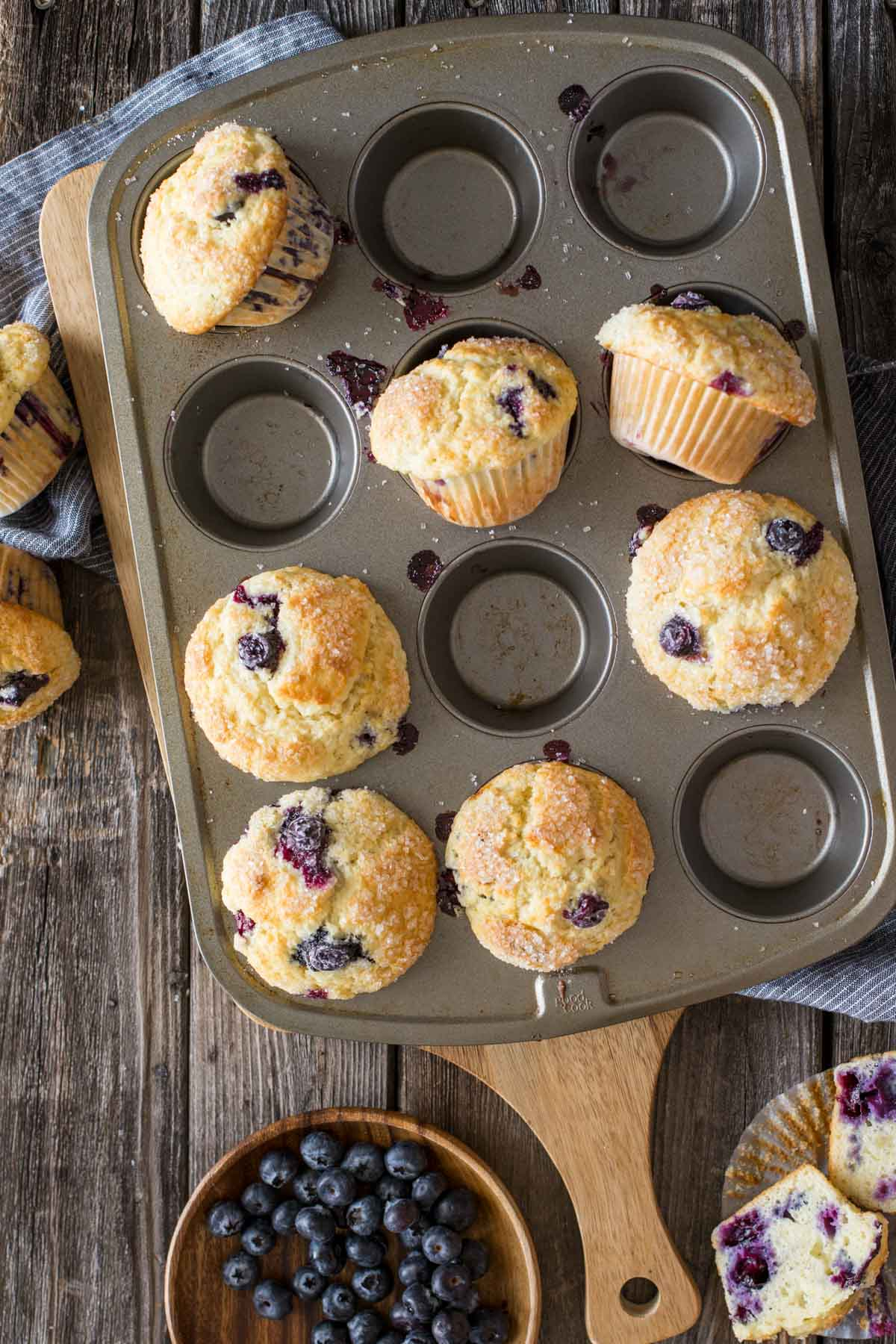 Best Ever Buttermilk Blueberry Muffins in a muffin pan.