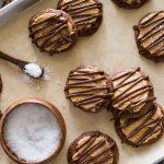 Peanut Butter Buckeye Brownie Cookies on a baking sheet.