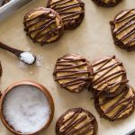 Peanut Butter Buckeye Brownie Cookies on a baking sheet.