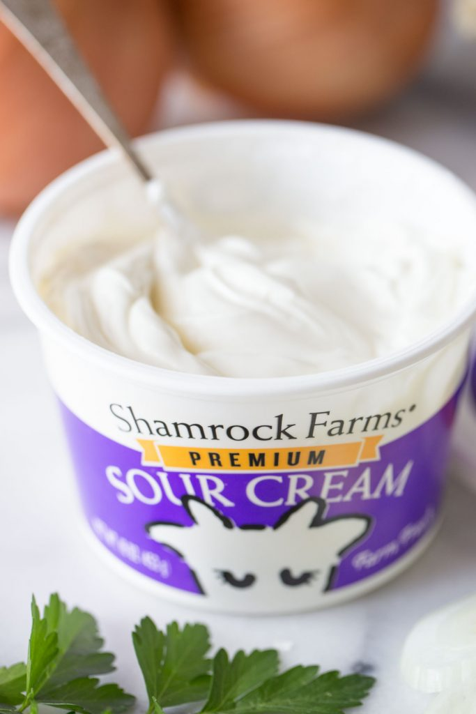Close up shot of Shamrock Farms Sour cream.