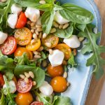 Overhead view of Sungold Caprese Salad