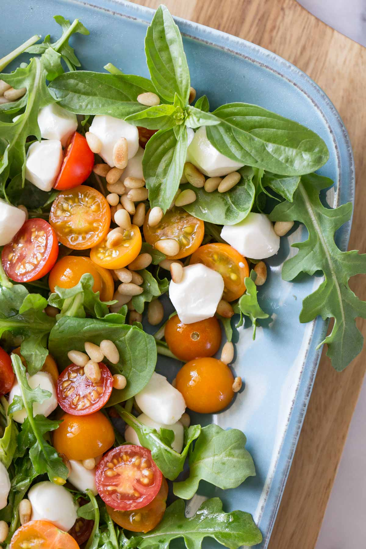 Close up view of Sungold Caprese Salad.