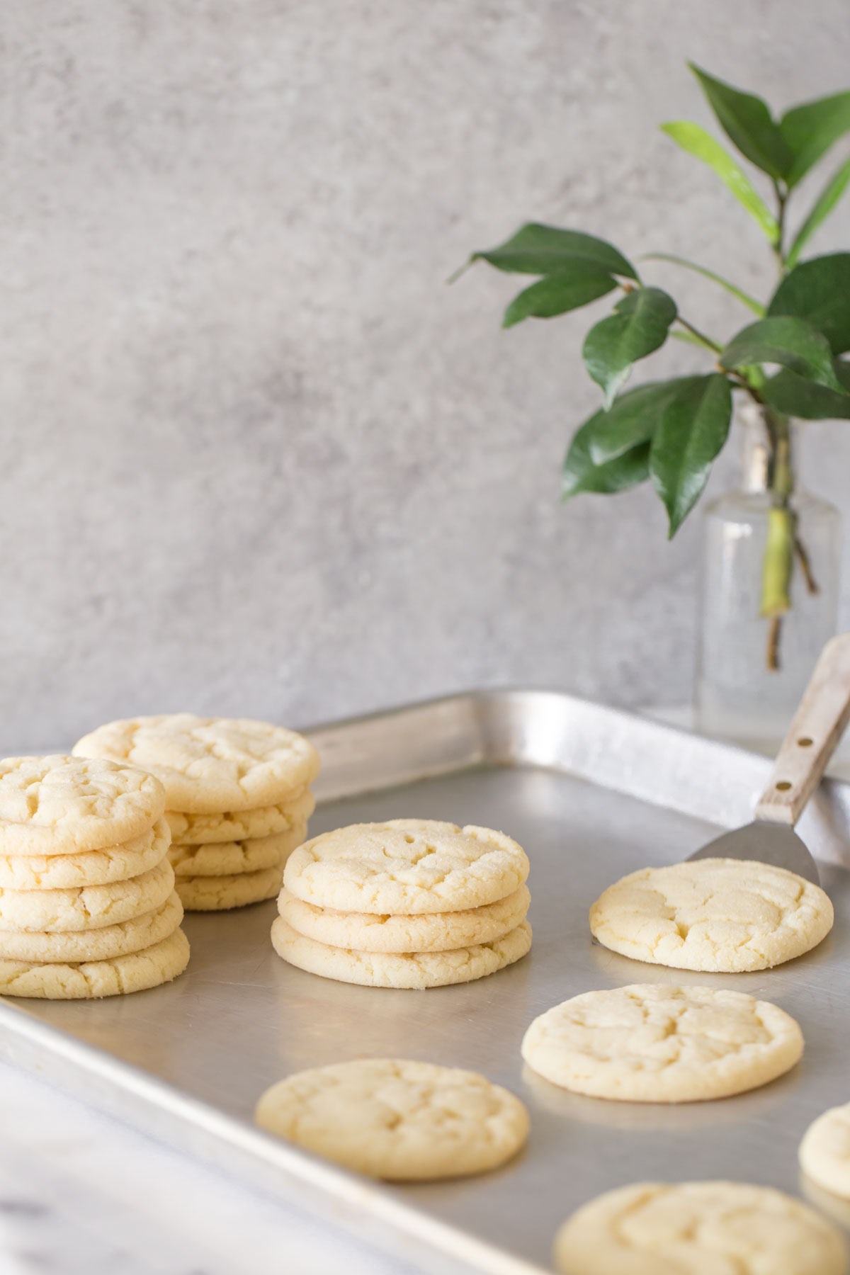 Overhead view of Soft and Chewy Sugar Cookies on a metal baking sheet.