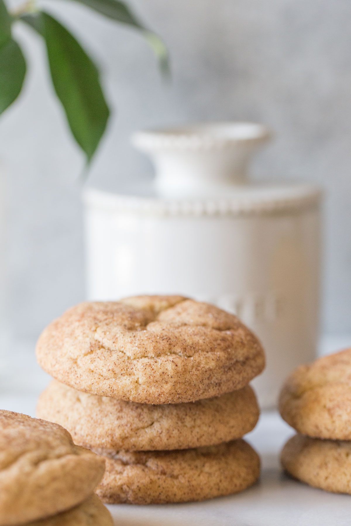 Super Soft Snickerdoodles stacked in front of a butter crock with a grey background.