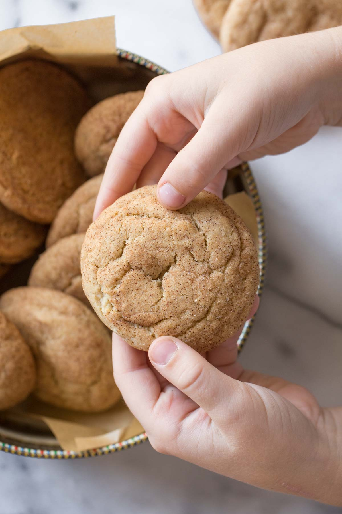 A child's hand holding a Super Soft Snickerdoodle.