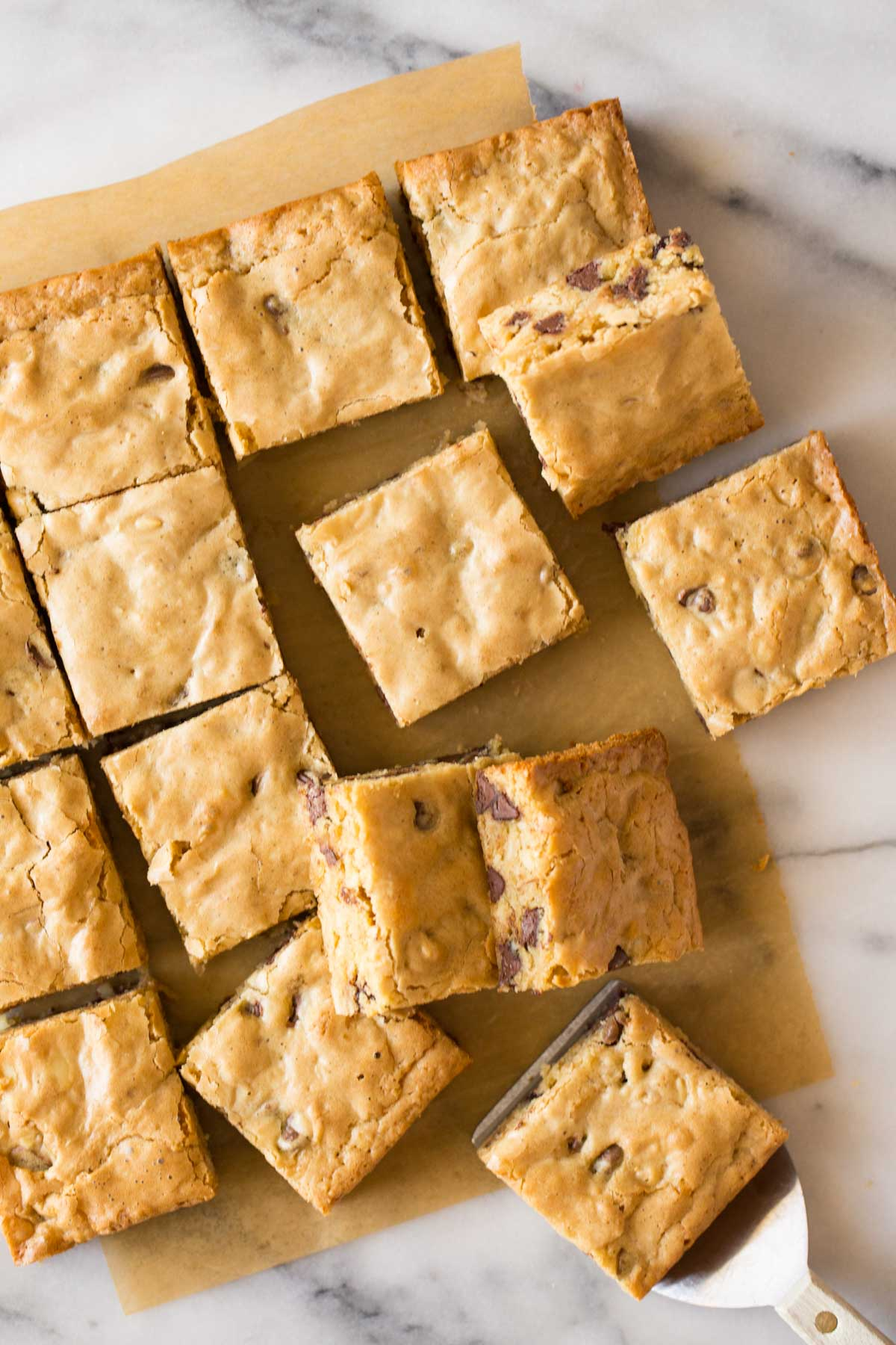 Overhead view of Easy One Bowl Blondies cut into squares on a white marble background.