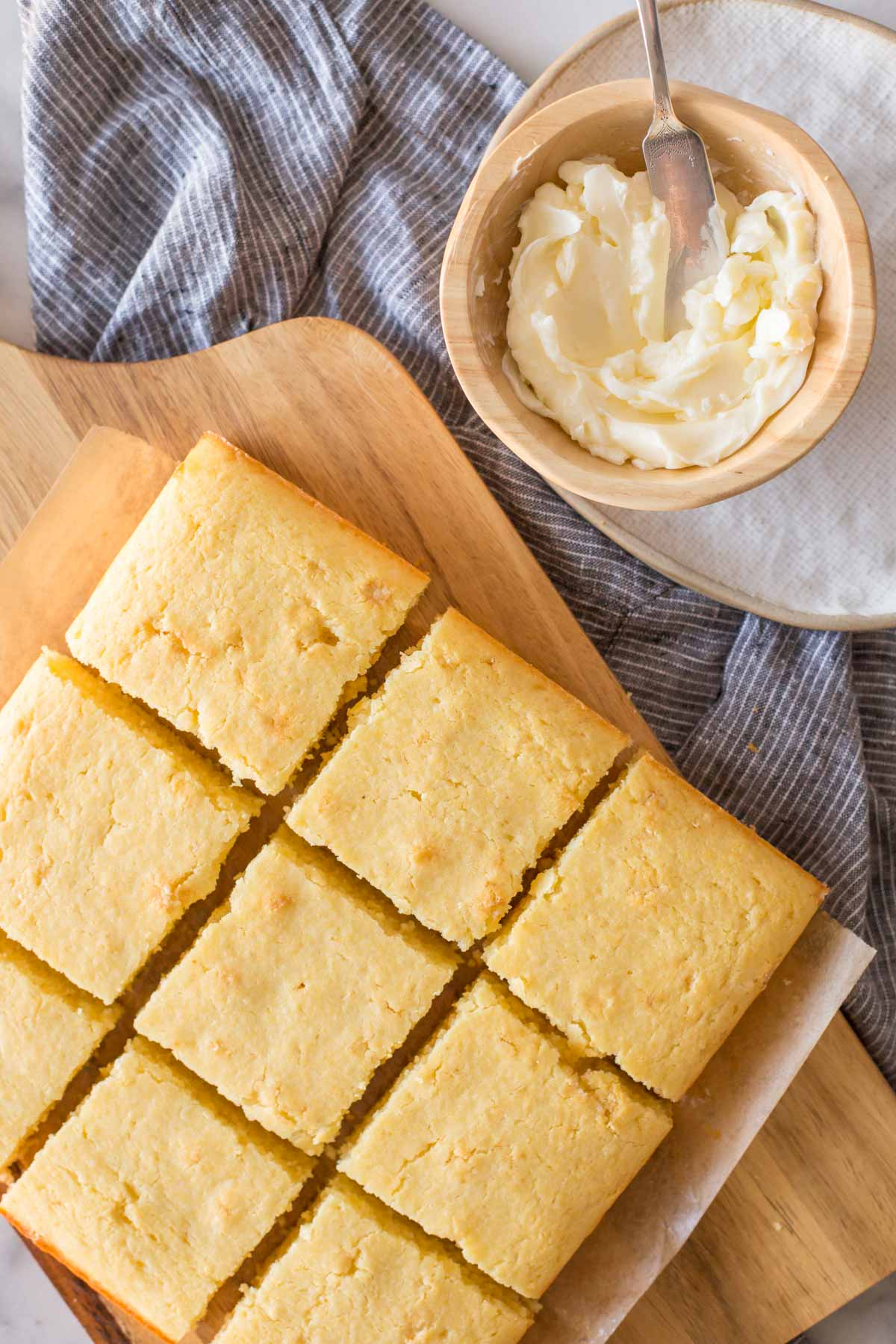 Overhead view of Easy Homemade Cornbread cut into bars.