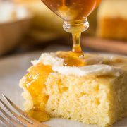 Honey drizzled over Easy Homemade Cornbread.