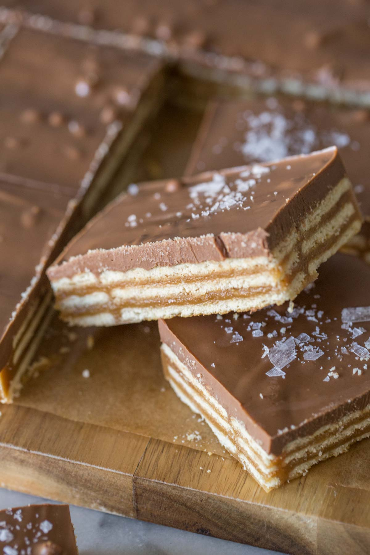 Close up shot of caramel, cracker, and chocolate layers of Salt River Bars.