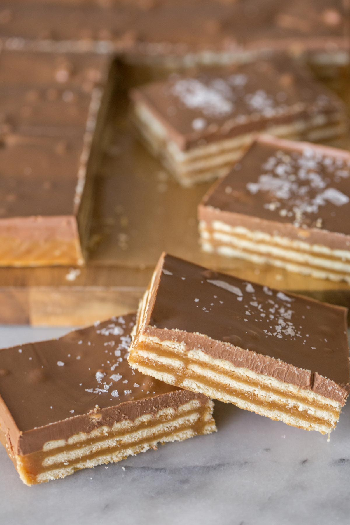 Close up view of caramel, cracker, and chocolate layer of Salt River Bars.