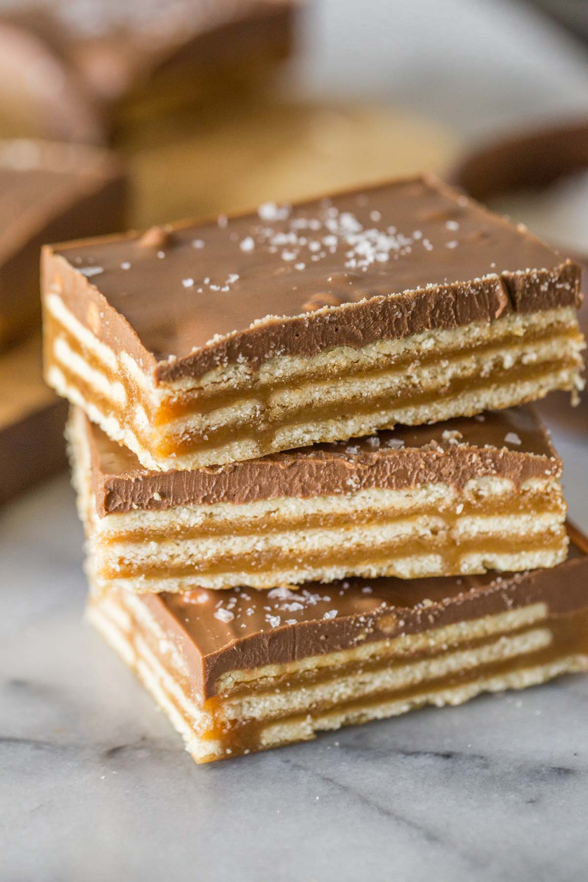 Close up shot of stacked Salt River Bars.