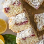 Overhead shot of stacked pieces of Lemon Raspberry Cream Cheese Coffee Cake.