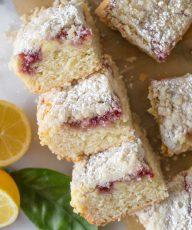 Overhead shot of stacked pieces of Lemon Raspberry Cream Cheese Coffee Cake.