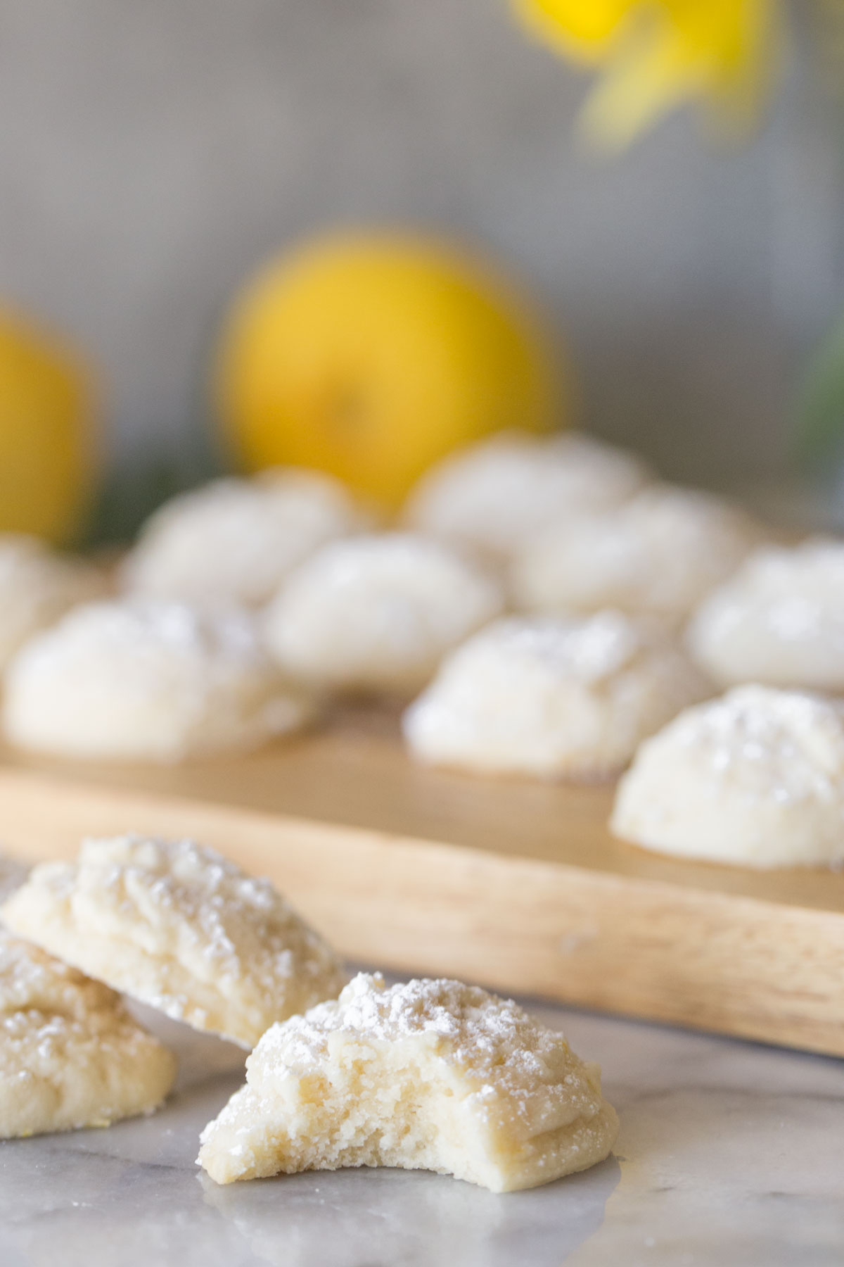 Close up shot of inside texture of Lemon Cookies.