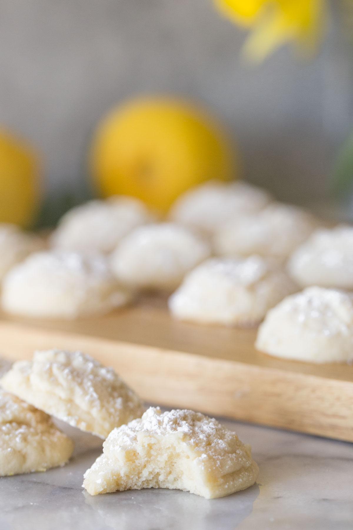 Close up shot of inside texture of Lemon Cookies.