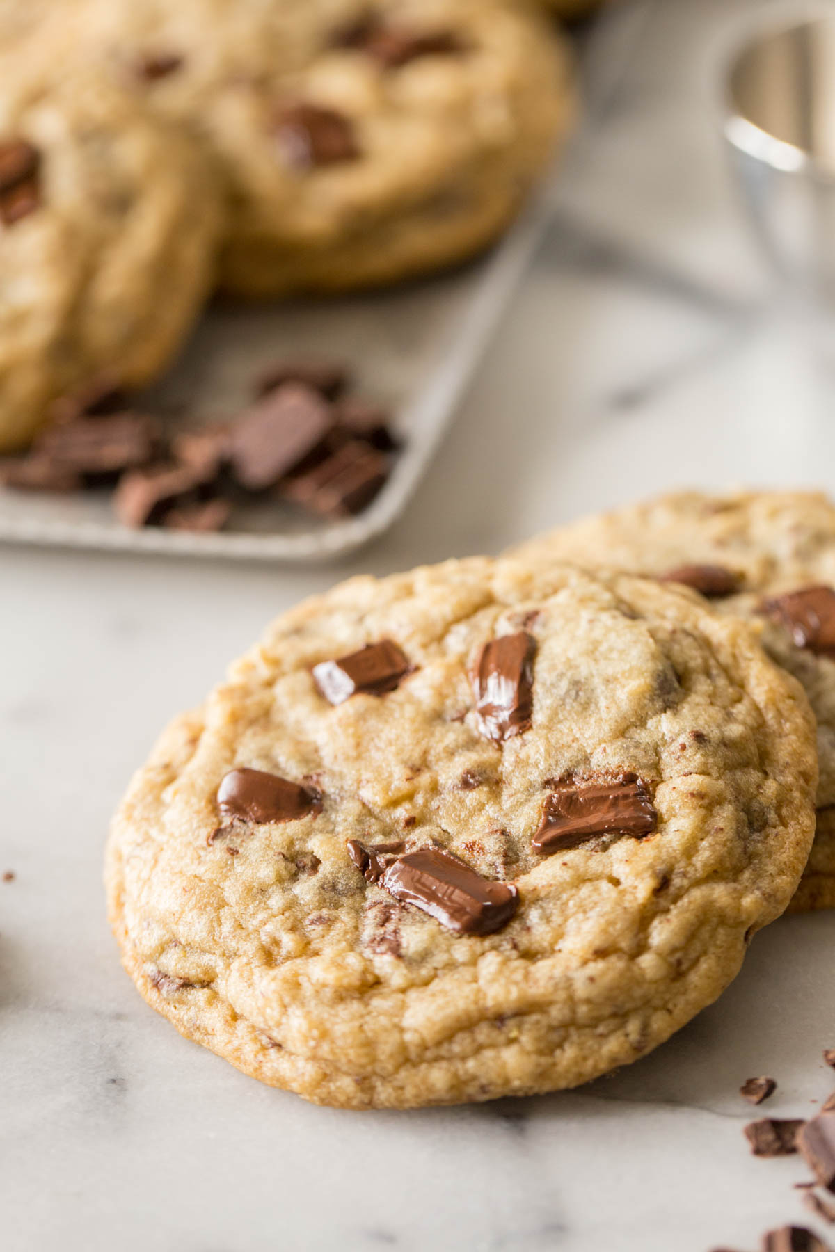 Close up shot of a Perfect Chocolate Chunk Cookie.