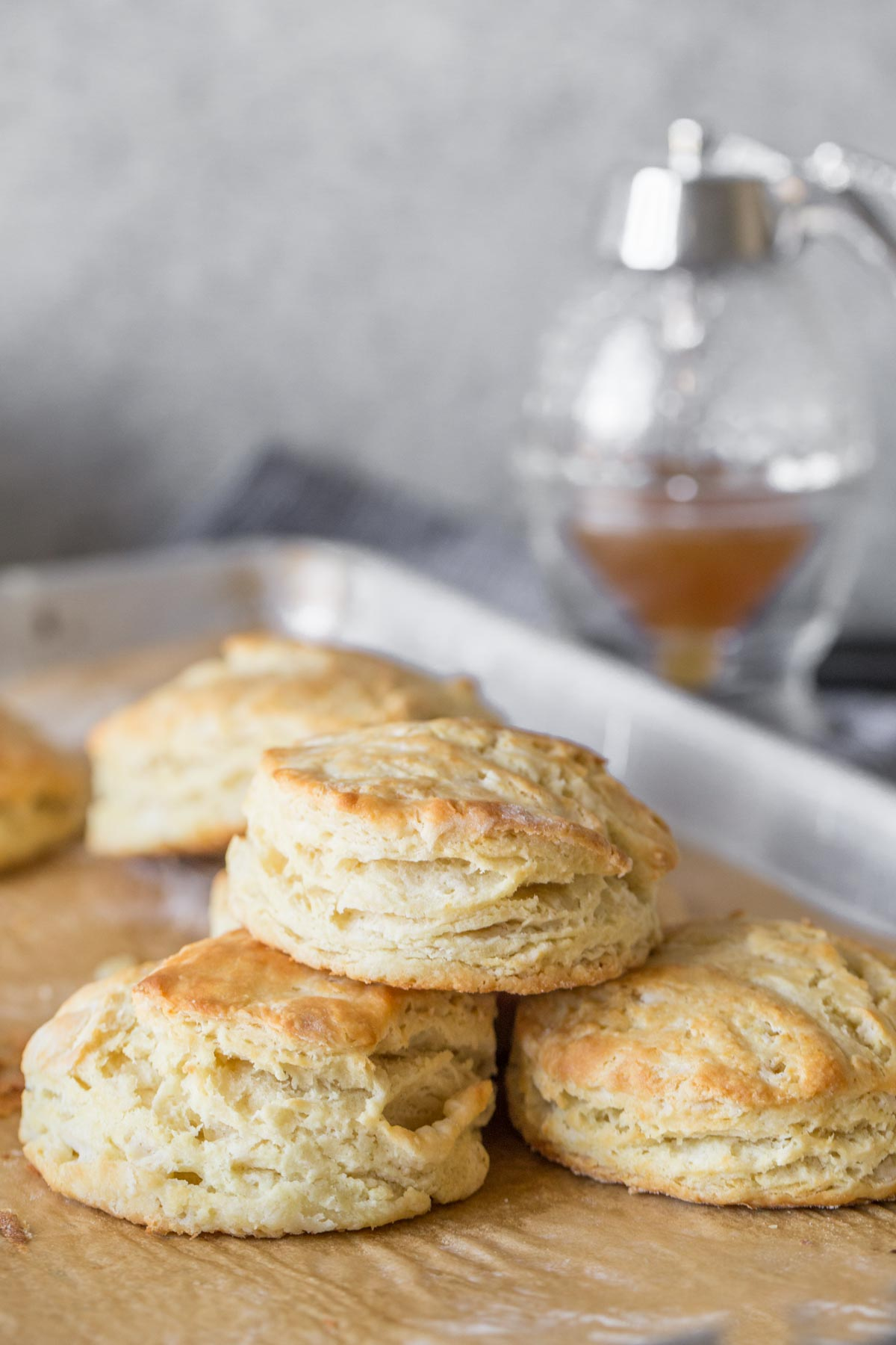 Easy Homemade Biscuits on a parchment lined baking sheet.